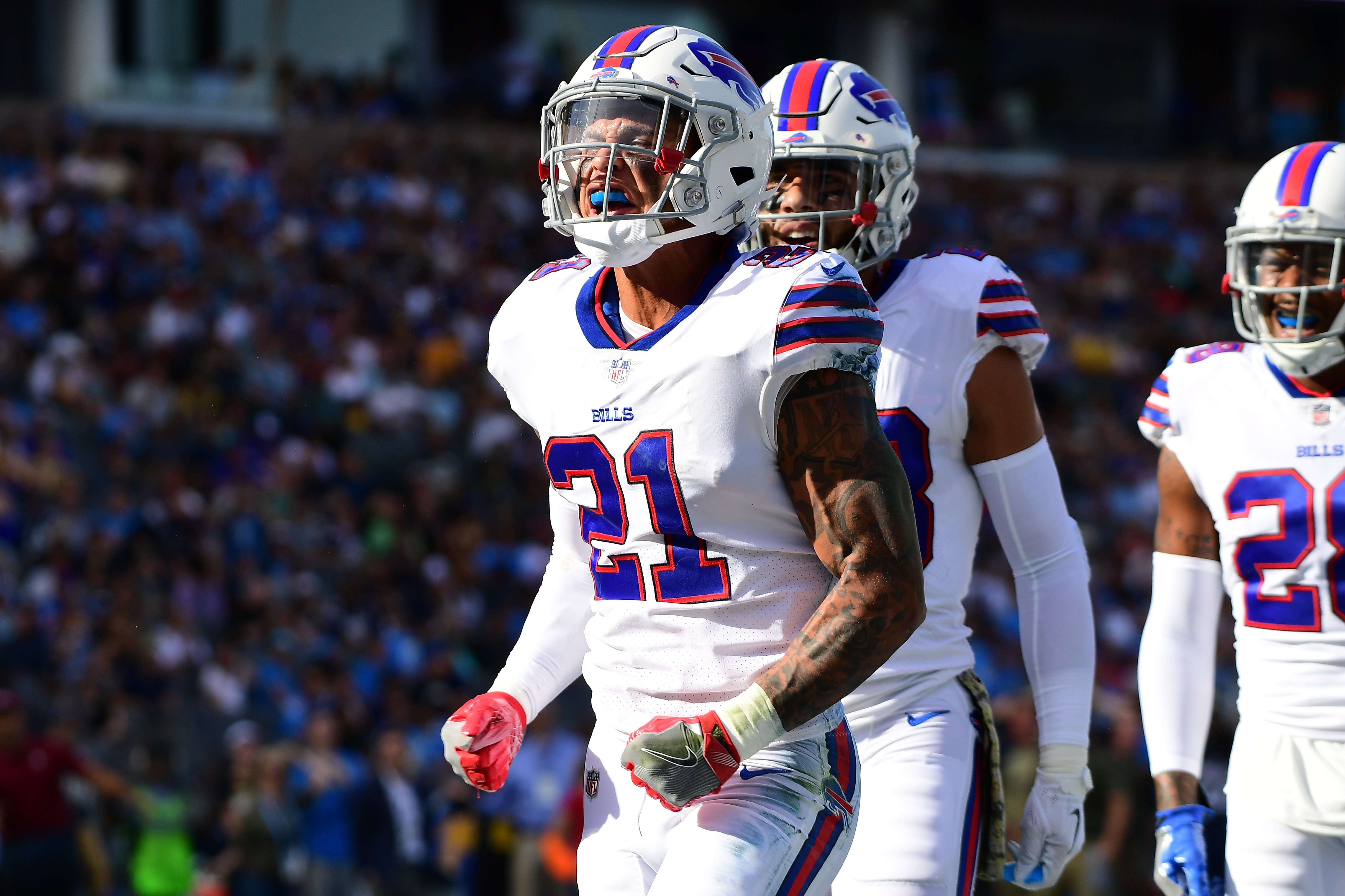 Jordan Poyer may get challenged to a home-run derby by fellow safety Micah  Hyde during his charity softball event on June 2. (Getty Images) 8912cb1cb