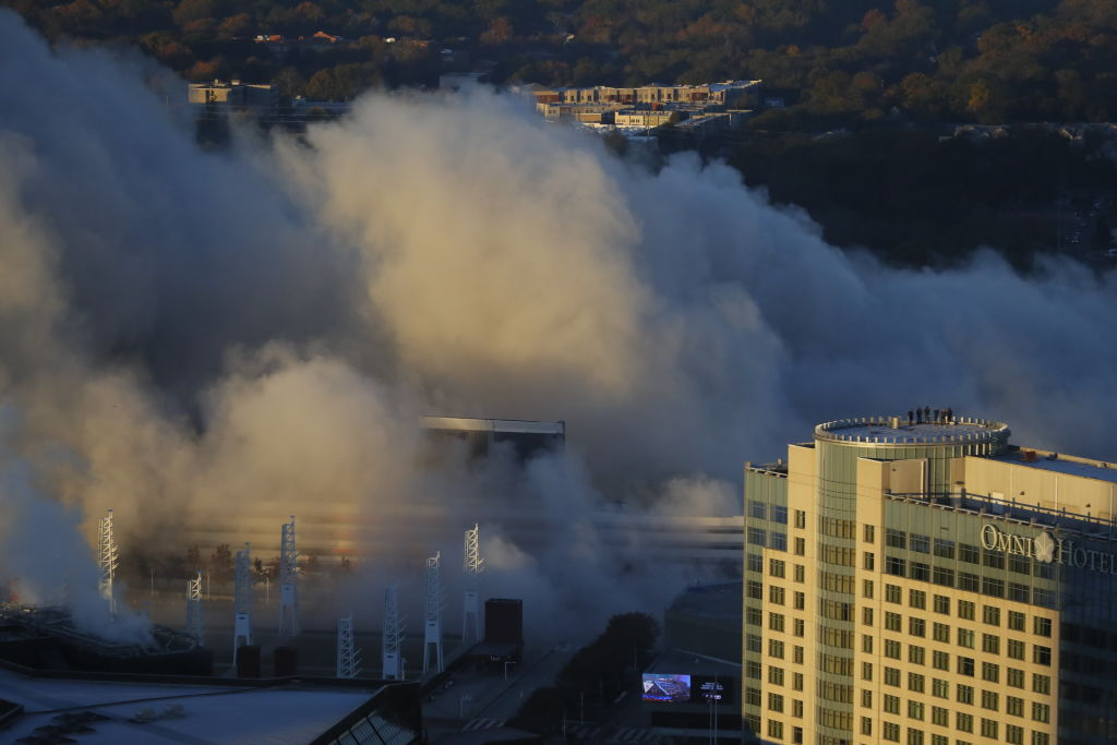 A view of the Georgia Dome implosion on November 20, 2017 in Atlanta, Georgia.  (Photo by Kevin C. Cox/Getty Images)