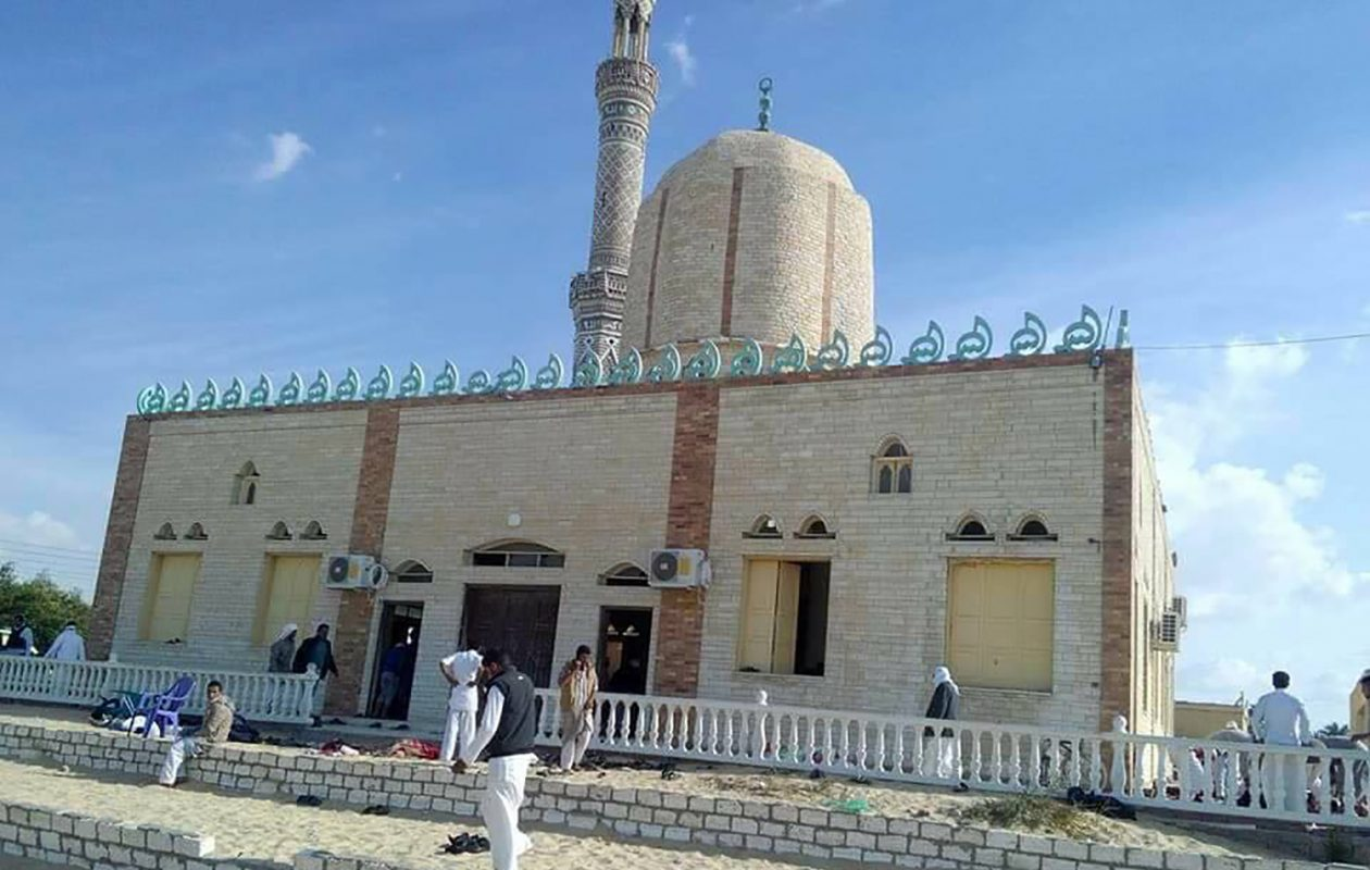 View of the Rawda mosque west of the North Sinai capital of El-Arish, after a gun and bombing attack, on November 24, 2017. A bomb explosion ripped through the mosque before gunmen opened fire on the worshippers gathered for weekly Friday prayers, officials said. (STRINGER/AFP/Getty Images)