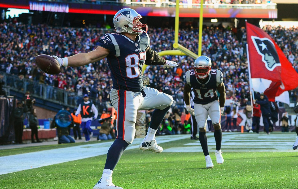 Rob Gronkowski of the New England Patriots has 702 yards and seven touchdowns through 10 games. (Getty Images)