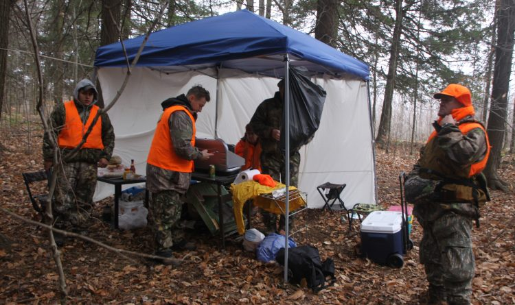 Our makeshift camp set up for soup and sandwiches in the woods every day around noon. (Bill Hilts Jr.)