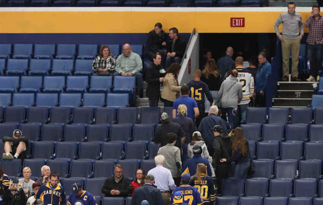 If Sabres fans leave early again Monday night, it will mean a history-tying stretch for Buffalo's sports teams. (James P. McCoy/Buffalo News)