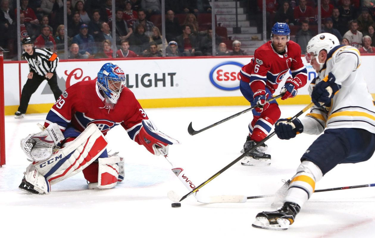 Jack Eichel bears down on Montreal goalie Charlie Lindrgren in overtime as Habs defenseman Shea Weber closes (Jean-Yves Ahern-USA Today Sports.