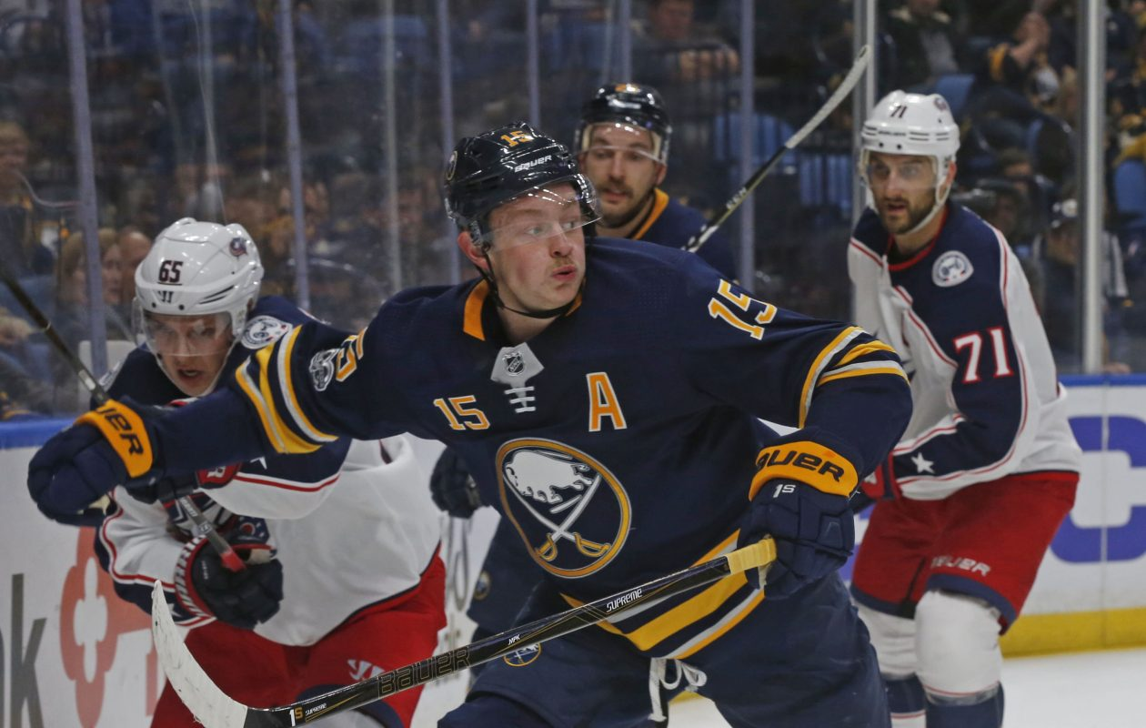 Jack Eichel and the Sabres host Tampa Bay Tuesday night. (Robert Kirkham/Buffalo News).