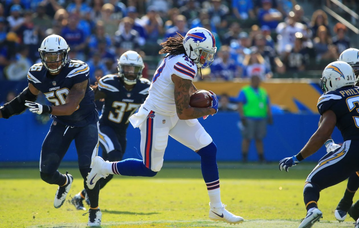 Buffalo Bills Kelvin Benjamin runs after a catch against the Los Angeles Chargers during first quarter action at the StubHub Center on Sunday, Nov. 19, 2017. (Harry Scull Jr./ Buffalo News)