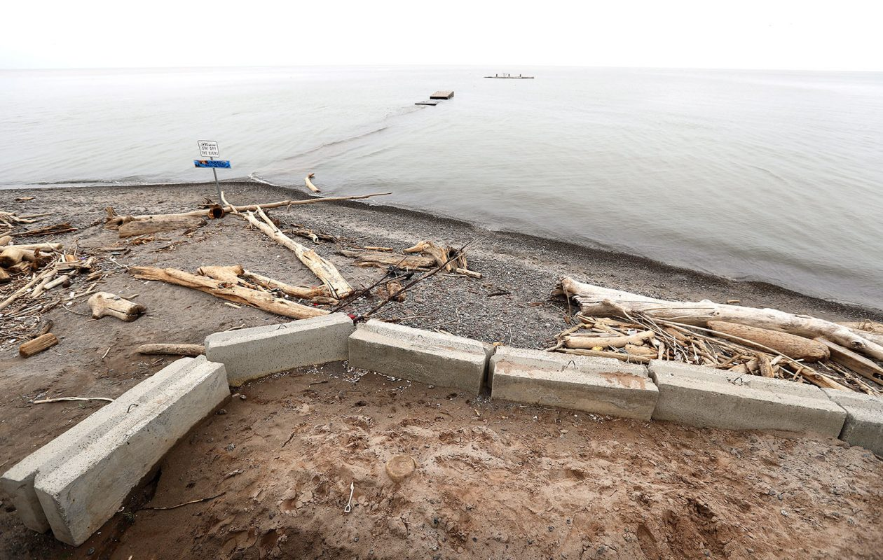 Not much beach was left at Olcott Beach on this day in May. (Mark Mulville/News file photo)