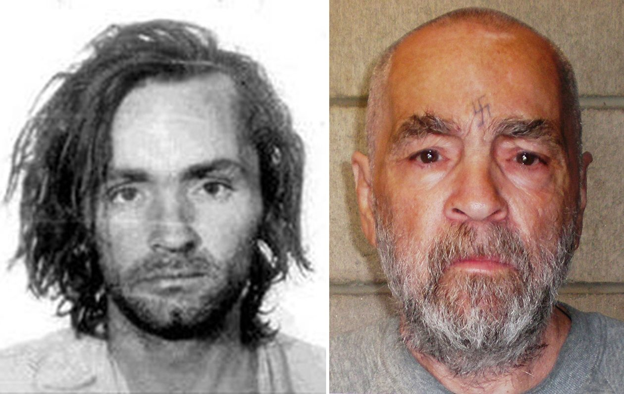 Charles Manson after his arrest in 1969, left, and in a photo released March 19, 2009, by the California Department of Corrections and Rehabilitation. California Department of Corrections and Rehabilitation via the New York Times)