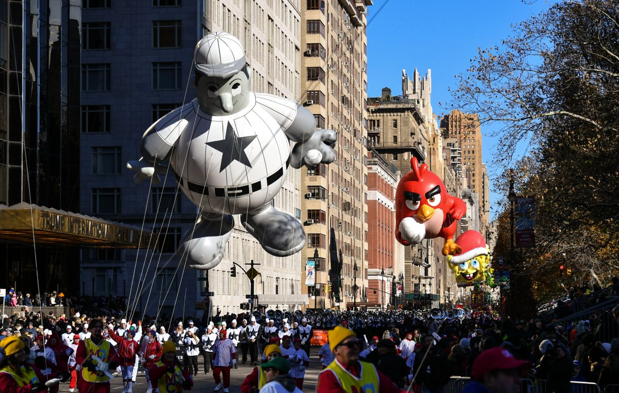 The Baseball Player, Angry Birds and SpongeBob SquarePants balloons float down Central Park West during the 91st Annual Macy's Thanksgiving Day Parade on Nov. 23, 2017, in New York City.  (Dia Dipasupil/Getty Images)