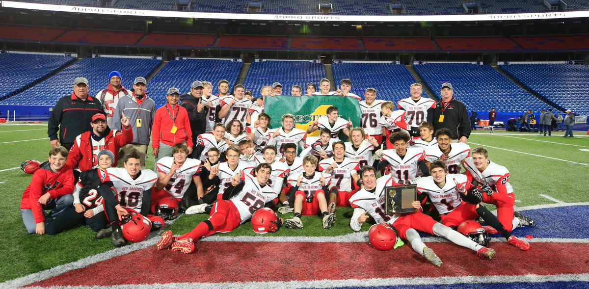 Maple Grove strikes the champion's pose for the fourth straight season after defeating Franklinville/Ellicottville in the Section VI Class D final Friday night. (Harry Scull Jr./Buffalo News)