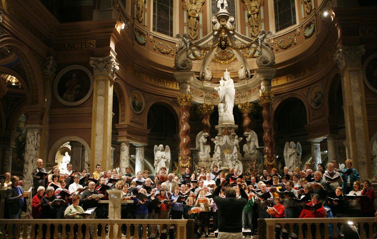 The Buffalo Philharmonic Chorus rehearses for Handel's 'Messiah' at Our Lady of Victory Basilica, Lackawanna. (File art, The Buffalo News/Sharon Cantillon)
