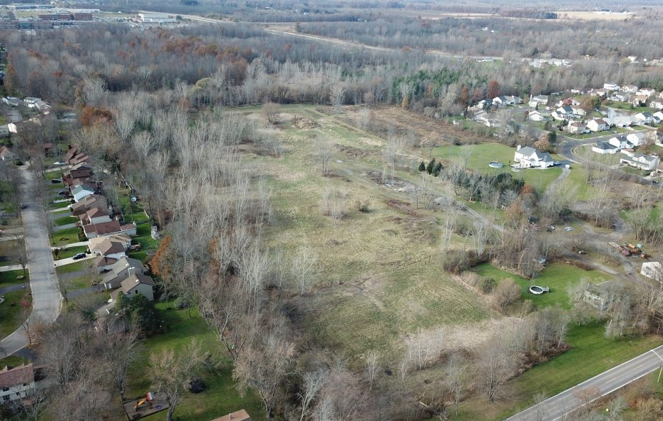 A proposed subdivision at 284 New Road in Amherst has pitted neighbors against neighbors. This aerial photo shot by a drone shows the property where Natale Builders wants to build 80 homes.  (John Hickey/Buffalo News)