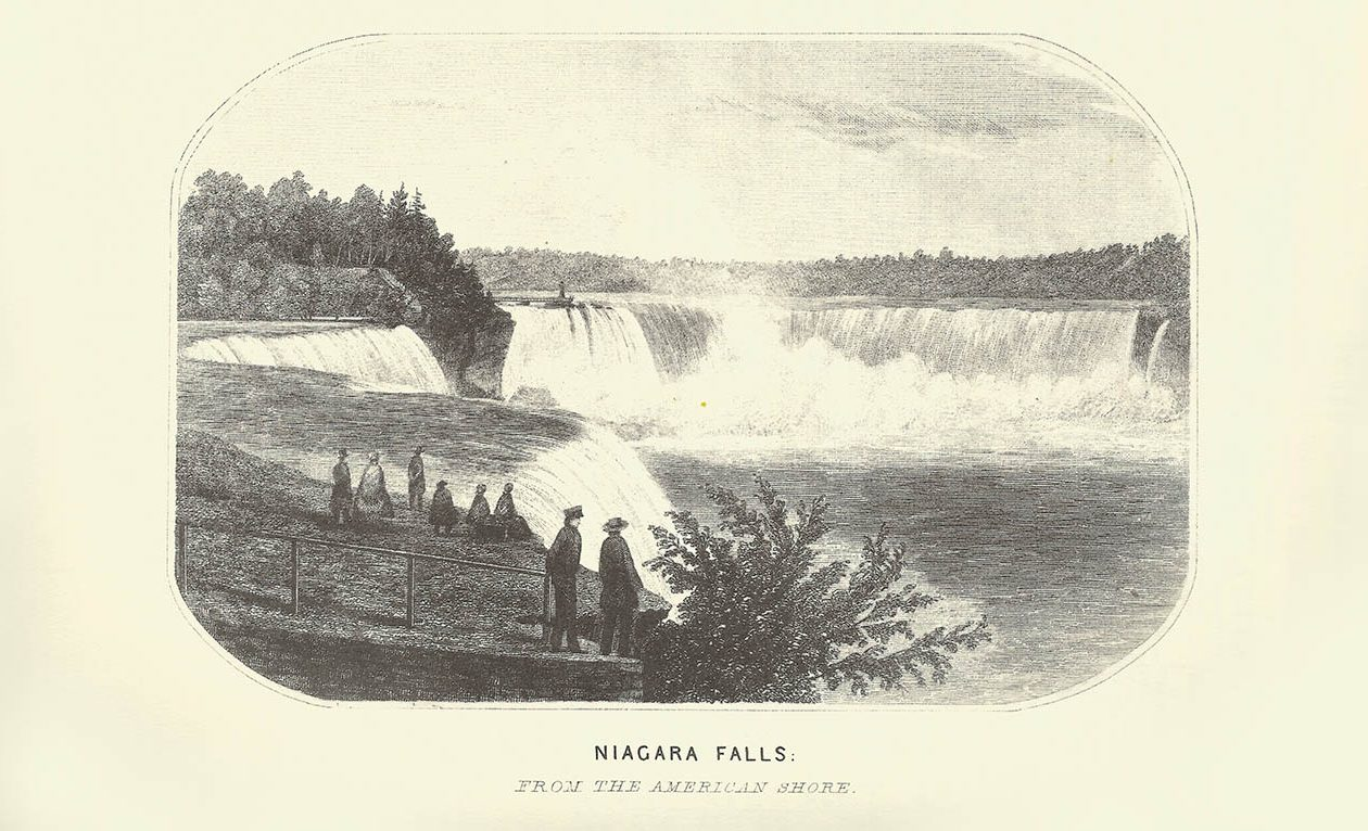 A drawing of Niagara Falls from the 1860 book 'Historical and Statistical Gazetteer of New York State.'