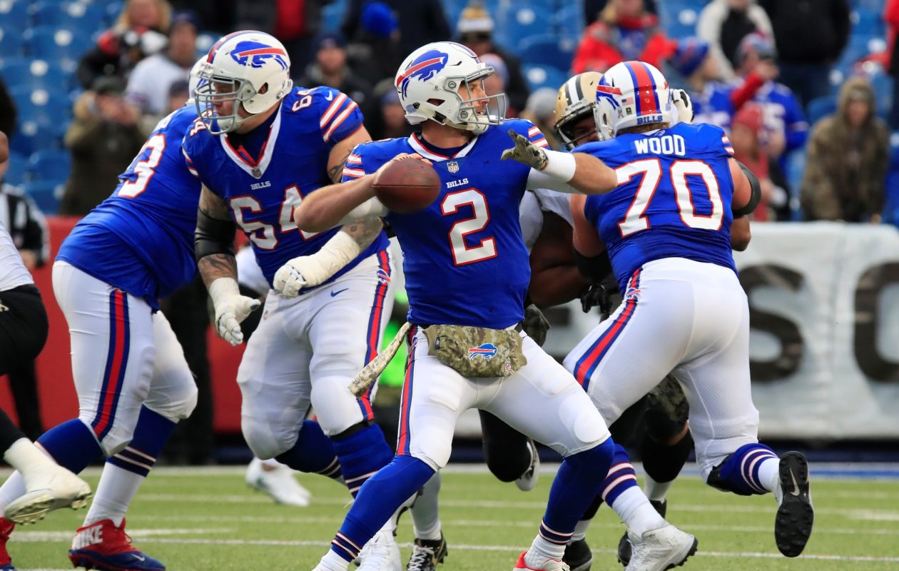 Bills rookie quarterback Nathan Peterman needs his line to provide this sort of protection vs. the Chargers. (Harry Scull/Buffalo News)