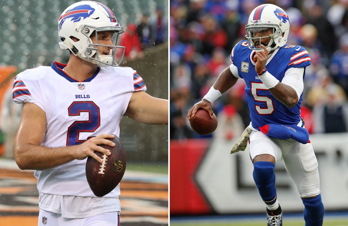 Nathan Peterman, left, has been named the Bills starting quarterback over Tyrod Taylor, right. (News file photos)