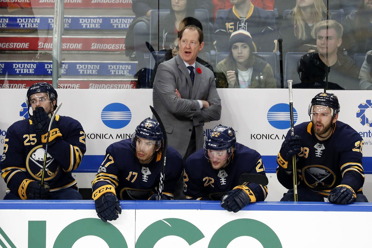 Phil Housley directs his troops in the second period Tuesday (Mark Mulville/Buffalo News).