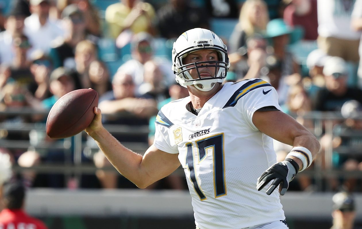Philip Rivers #17 of the Los Angeles Chargers throws a pass in the first half of their game against the Jacksonville Jaguars at EverBank Field on November 12, 2017 in Jacksonville, Fla.  (Getty Images)