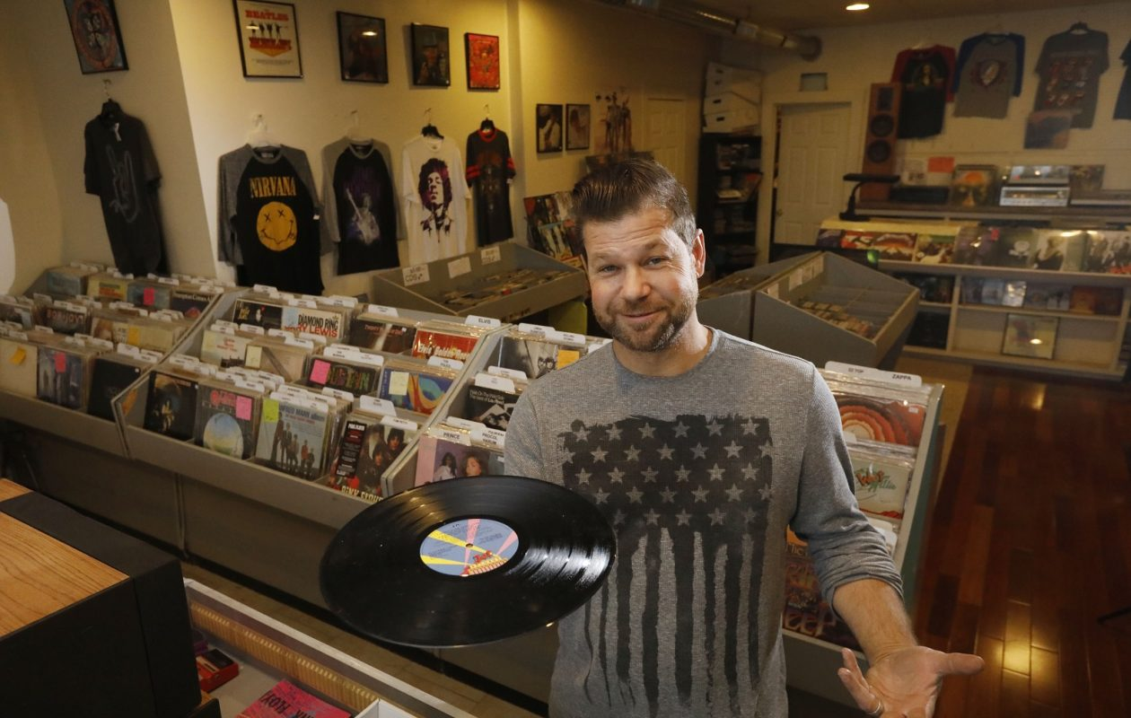 Rich Rhodes, owner of Rick's Record Shack, on Lakeshore Road in Hamburg. (Derek Gee/Buffalo News)