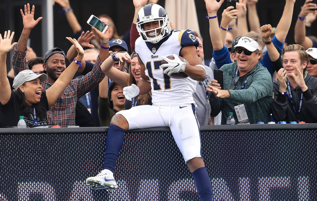 Robert Woods of the Los Angeles Rams celebrates after scoring a touchdown during the game against the Houston Texans at the Los Angeles Memorial Coliseum on Nov. 12, 2017, in Los Angeles. (Getty Images)