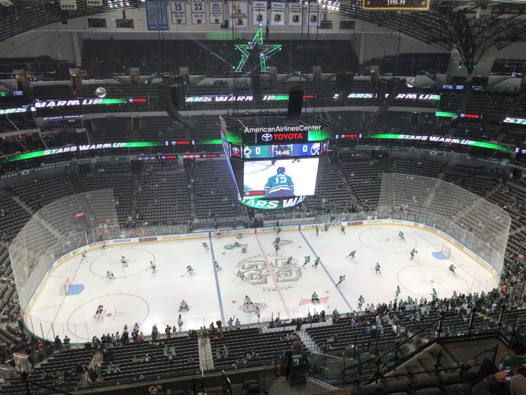 As expected, the Sabres' Robin Lehner and the Stars' Kari Lehtonen lead their teams onto the ice. (John Vogl/Buffalo News)