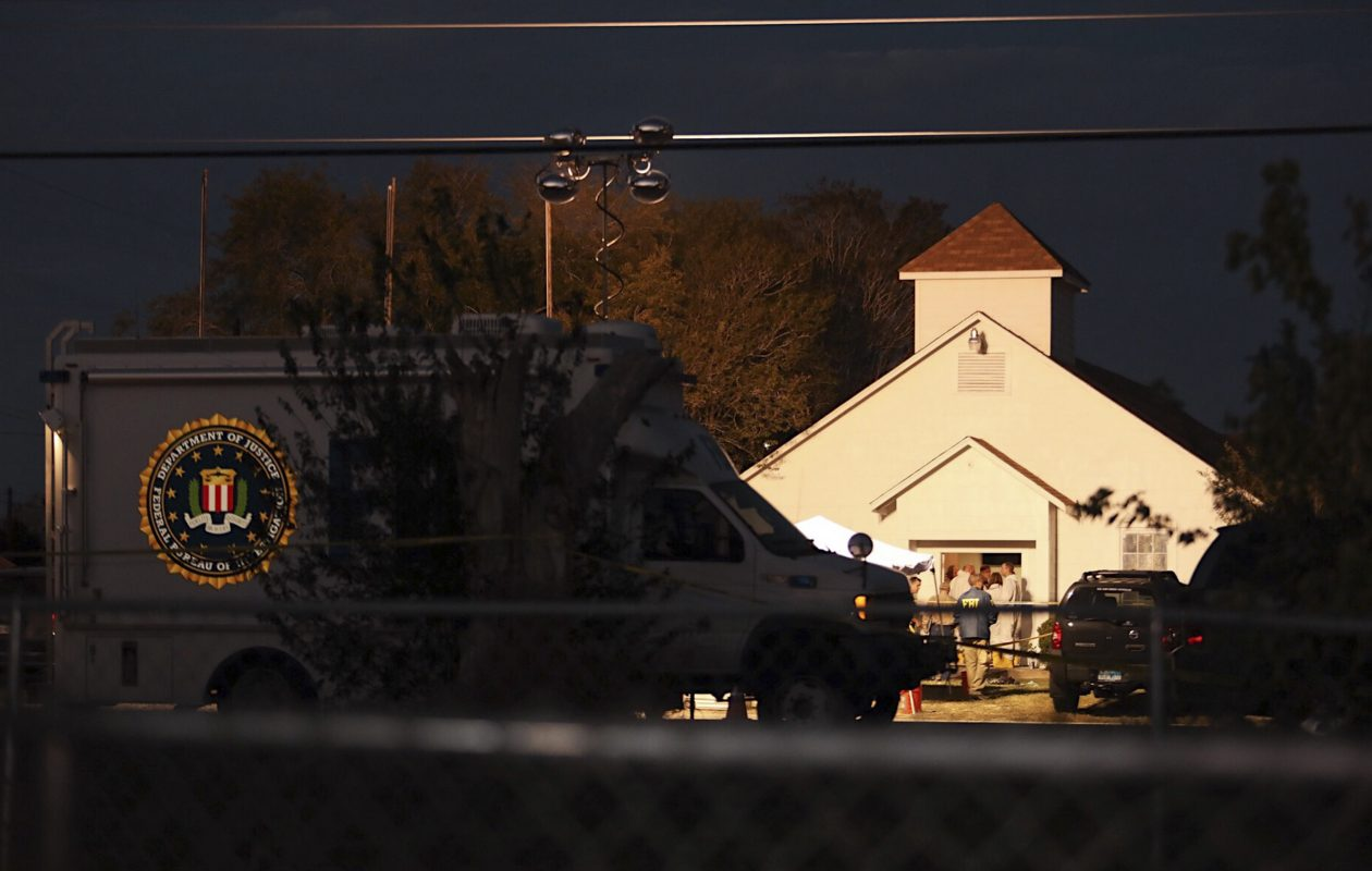 Police on the scene at the First Baptist Church of Sutherland Springs on Sunday evening, where a gunman wearing all black and a ballistic vest killed at least 26 people and injured at least 20 more during a a late-morning service at the small town church in Texas, Nov. 5, 2017. (Callie Richmond/New York Times)