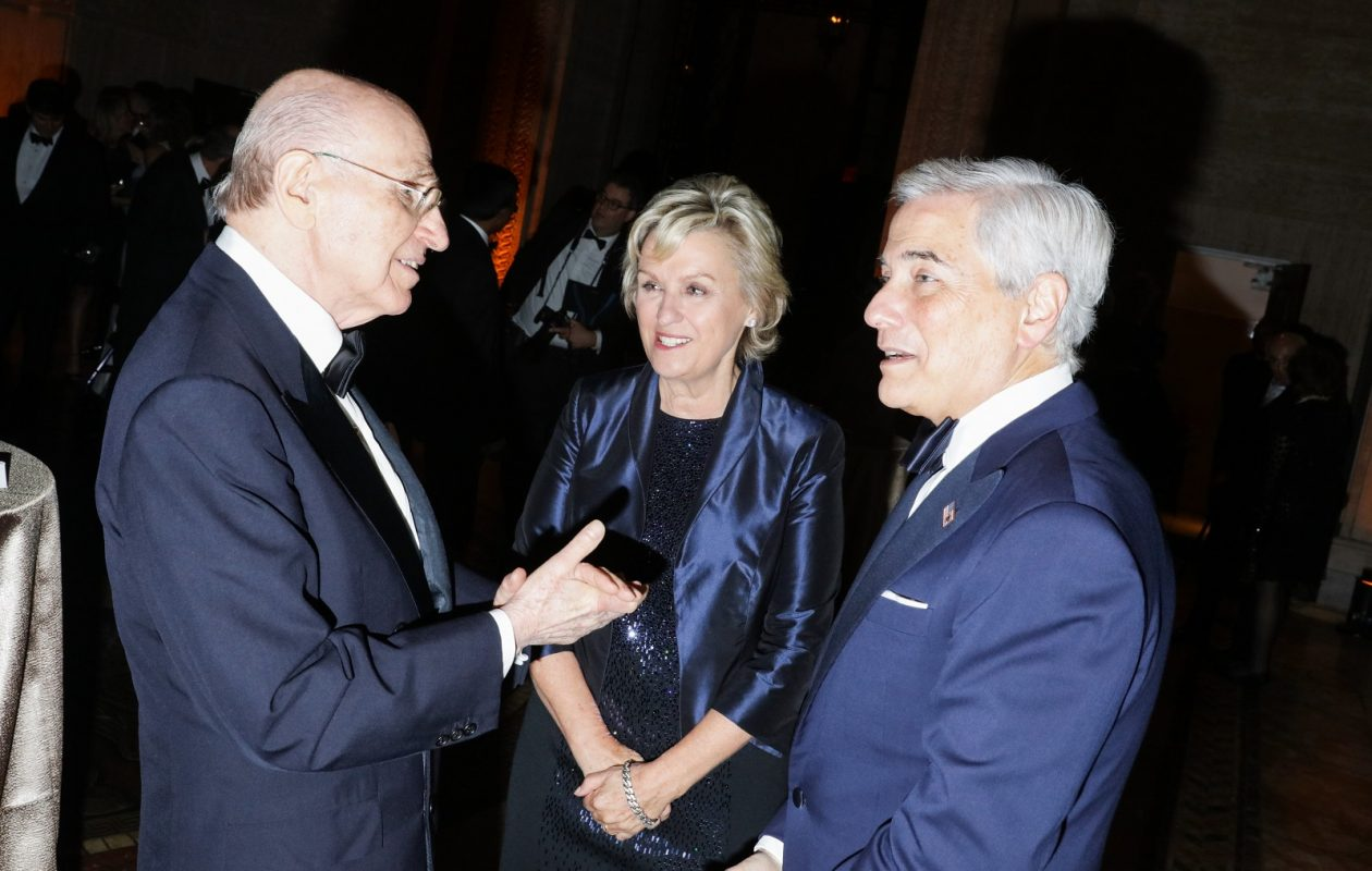 Murray Sonnenberg, Tina Brown, and Robert Zimmerman on hand as the New-York Historical Society gave out its History Makers medals, in Manhattan this month. (Rebecca Smeyne/New York Times)