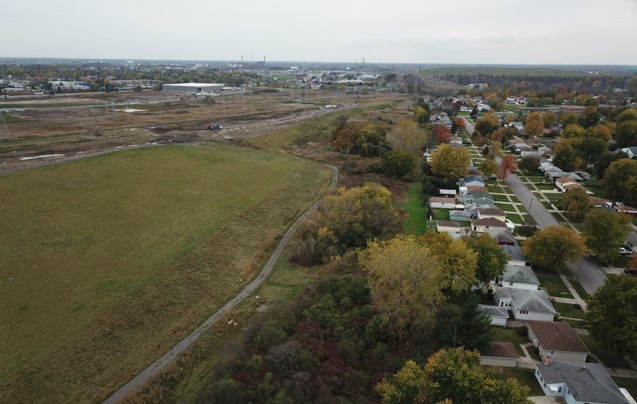 An aerial view of the former Town of Tonawanda landfill, where a planned solar array has stalled. Solar Liberty is set to take over the project and start construction in the spring. (John Hickey/Buffalo News file photo)