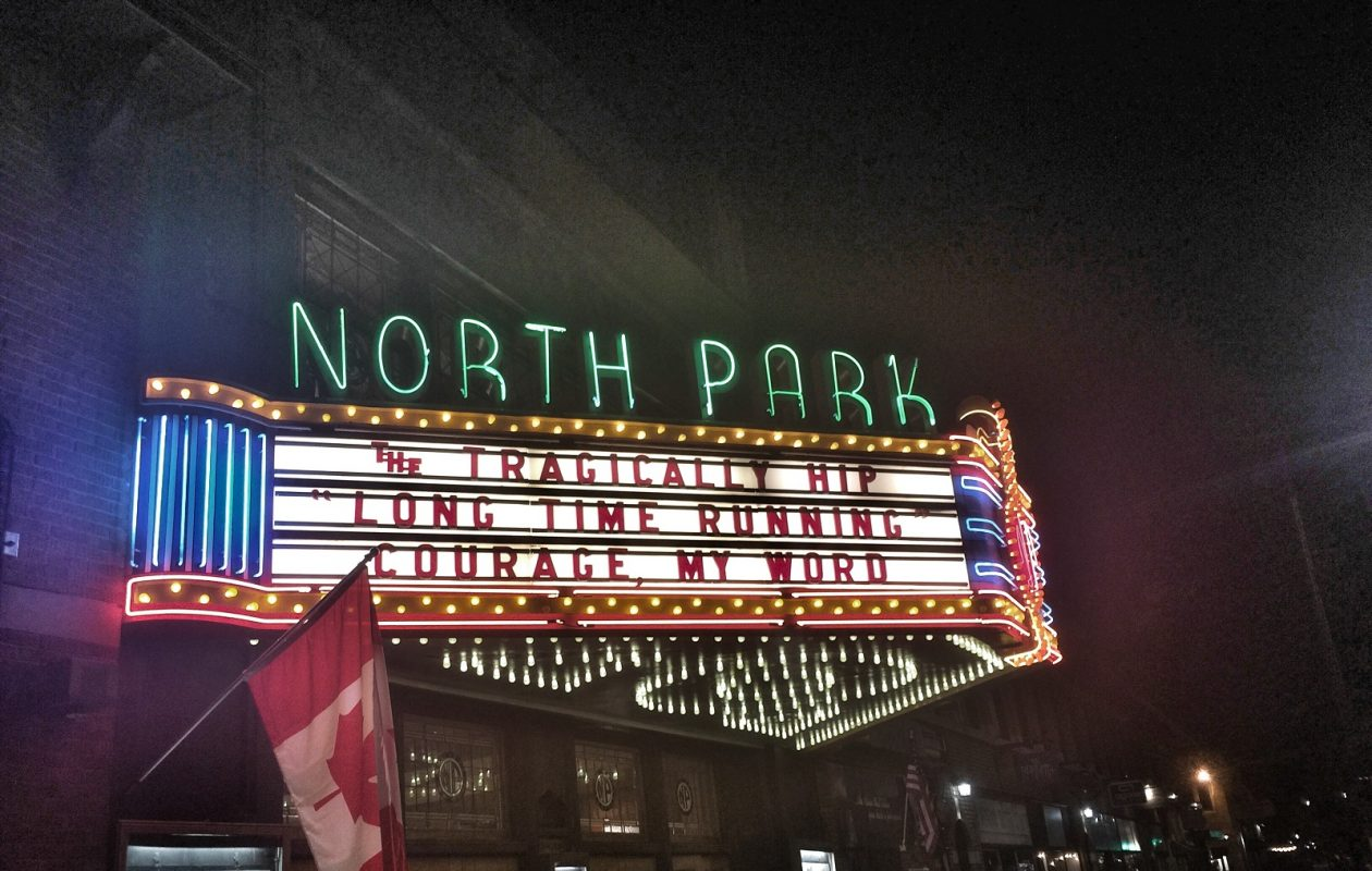 The marquee outside the North Park on Friday night. (Photo by Jeff Miers)