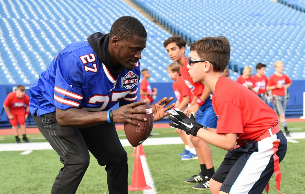 Bills rookie cornerback Tre'Davious White helped lead a flag football clinic at New Era Field in September as part of the Bills Toyota Rookie Club initiative. (Photo courtesy of Craig Melvin/Buffalo Bills)