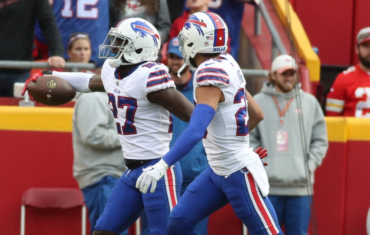 Bills cornerback Tre'Davious White sealed Buffalo's win with an interception Sunday in the fourth quarter. (James P. McCoy / Buffalo News)