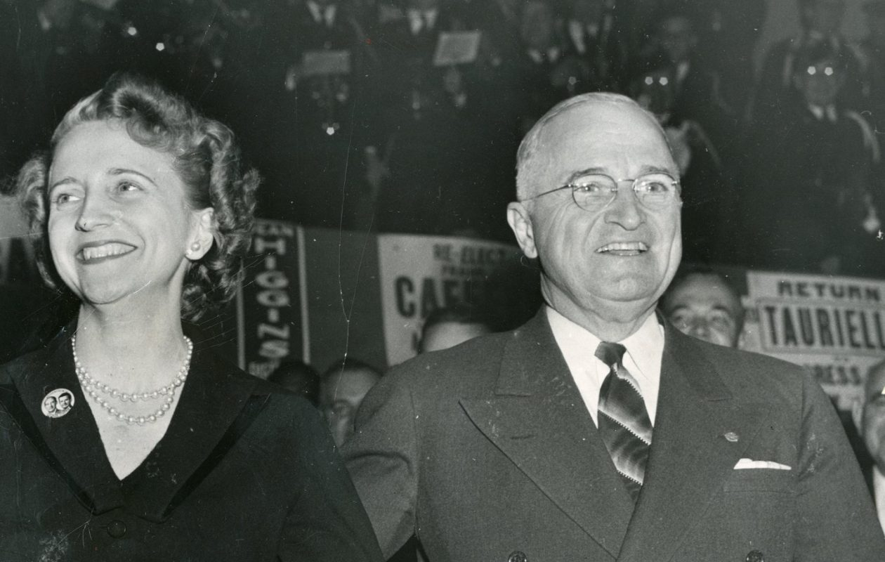 President Harry S. Truman, here with daughter Margaret, visited Buffalo on October 9, 1952 for a speech at the Memorial Auditorium before a crowd of 8,500.