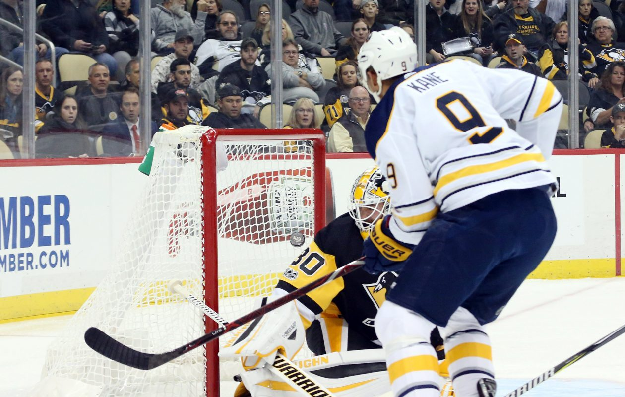 Sabres left wing Evander Kane sets a personal mark Tuesday, scoring his 10th goal in Buffalo's 18th game. (USA TODAY Sports)