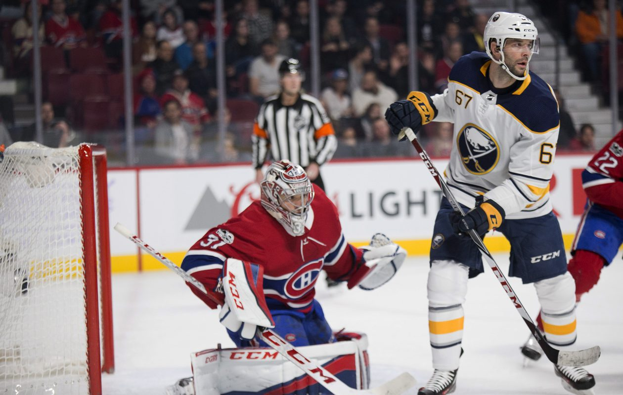 Montreal goaltender Carey Price frustrated Benoit Pouliot and the Sabres on Saturday. (USA Today Sports)