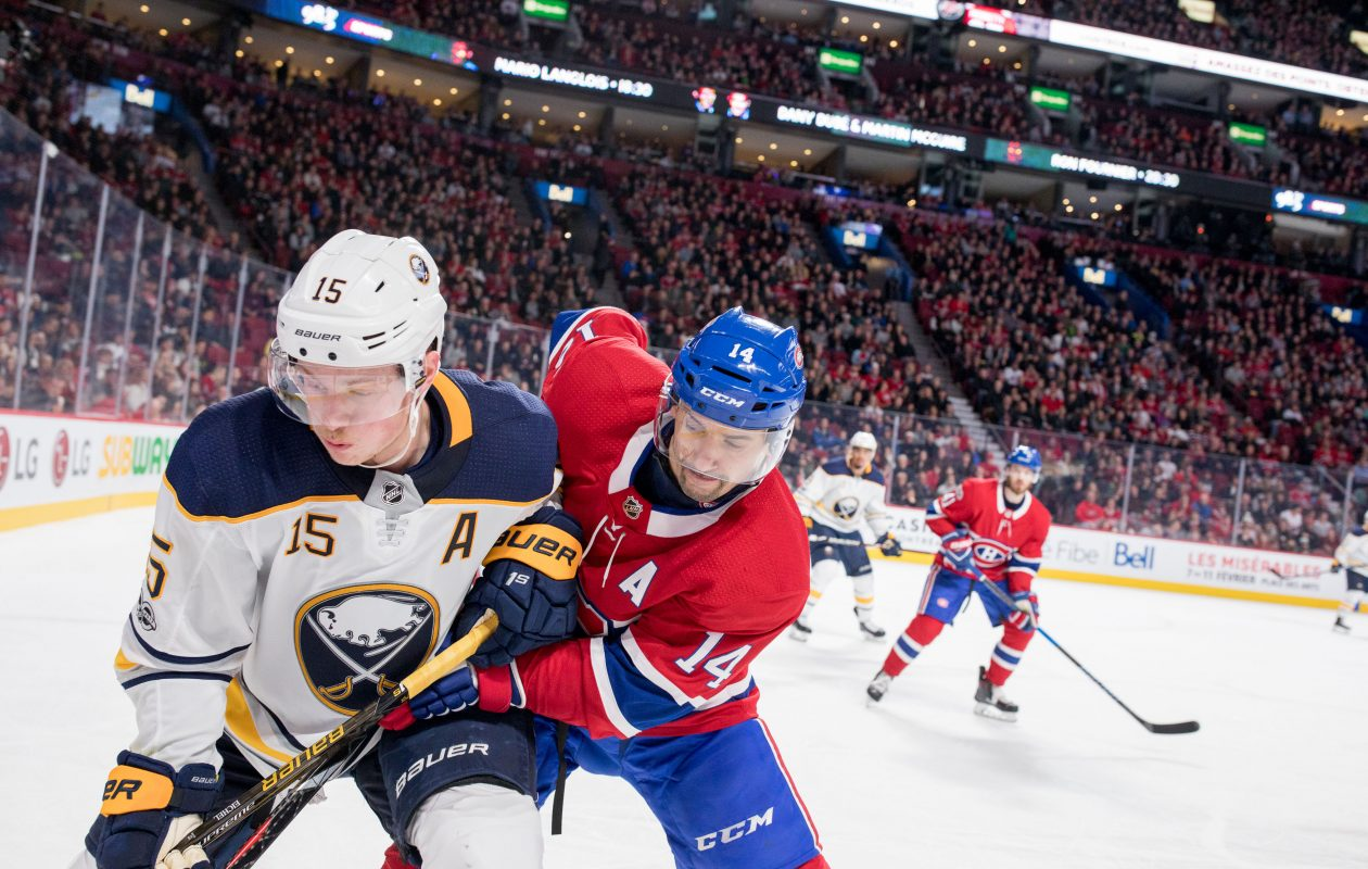 The Sabres' Jack Eichel, fighting off Montreal's Tomas Plekanec, had eight shots on net and one costly turnover Saturday. (USA Today Sports)