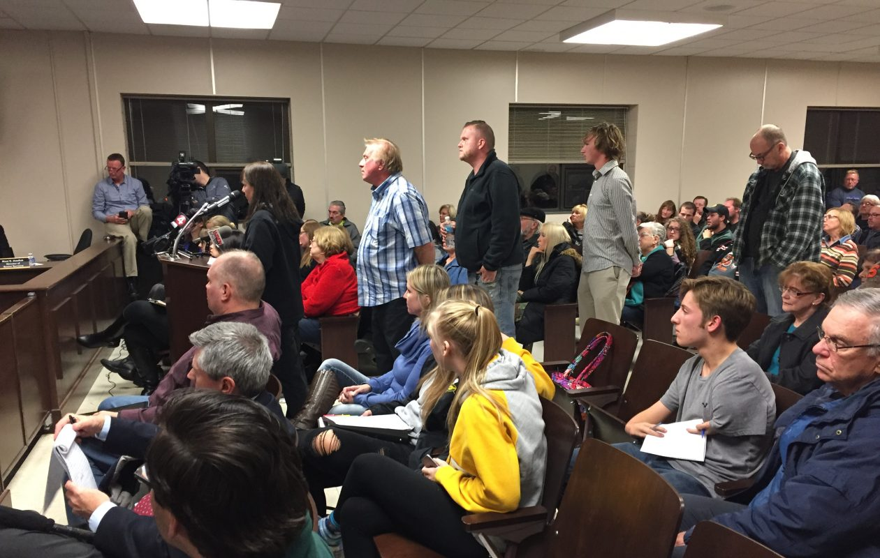 Residents line up to speak after the West Seneca Town Board adopted a budget with an 8.6 percent tax increase. (Barbara O'Brien/Buffalo News)