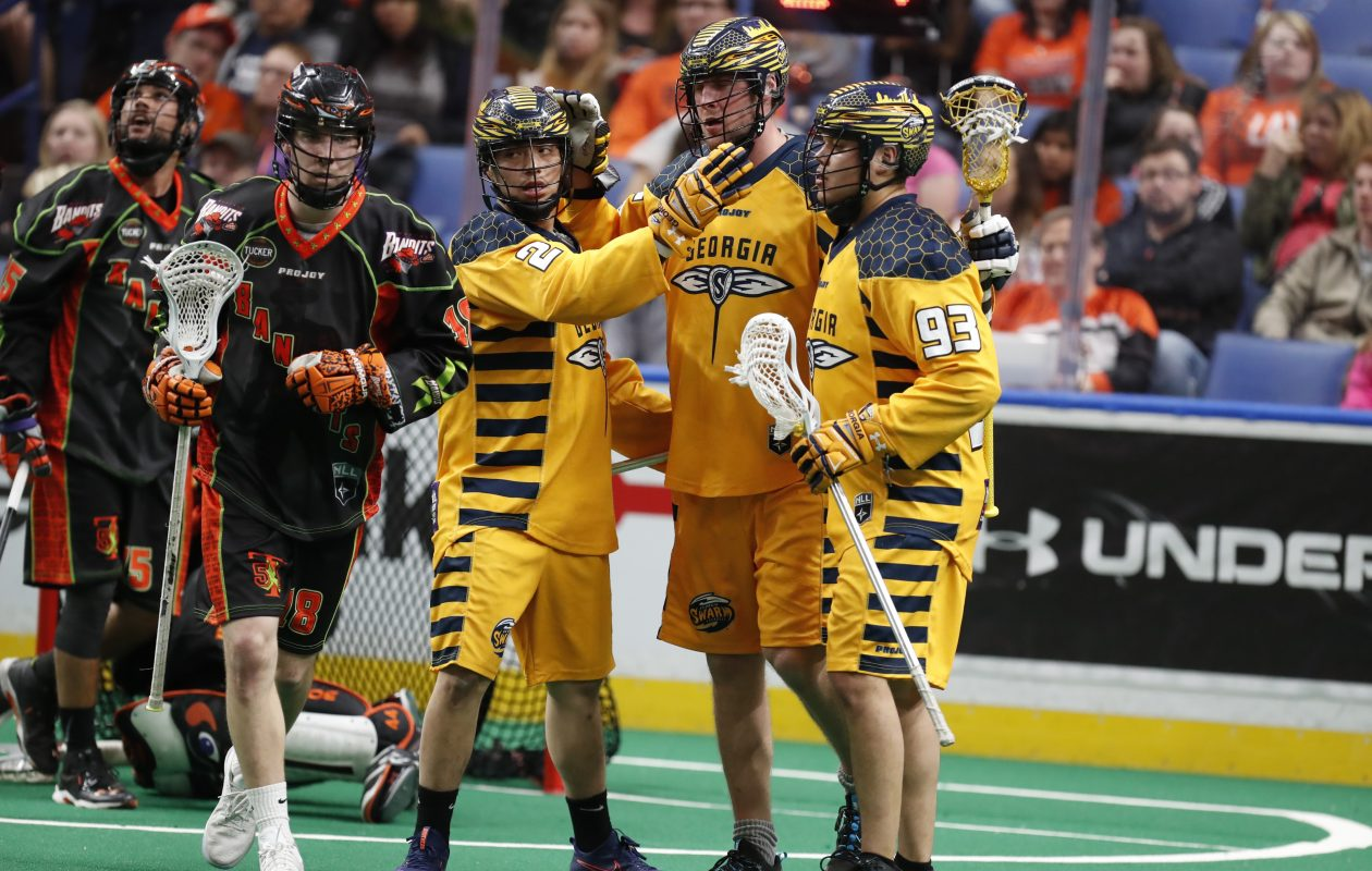 Buffalo Bandits' Tim Edwards runs past the Georgia Swarm as they celebrate a Kiel Matisz goal on Saturday, April 22, 2017. (Harry Scull Jr./Buffalo News)