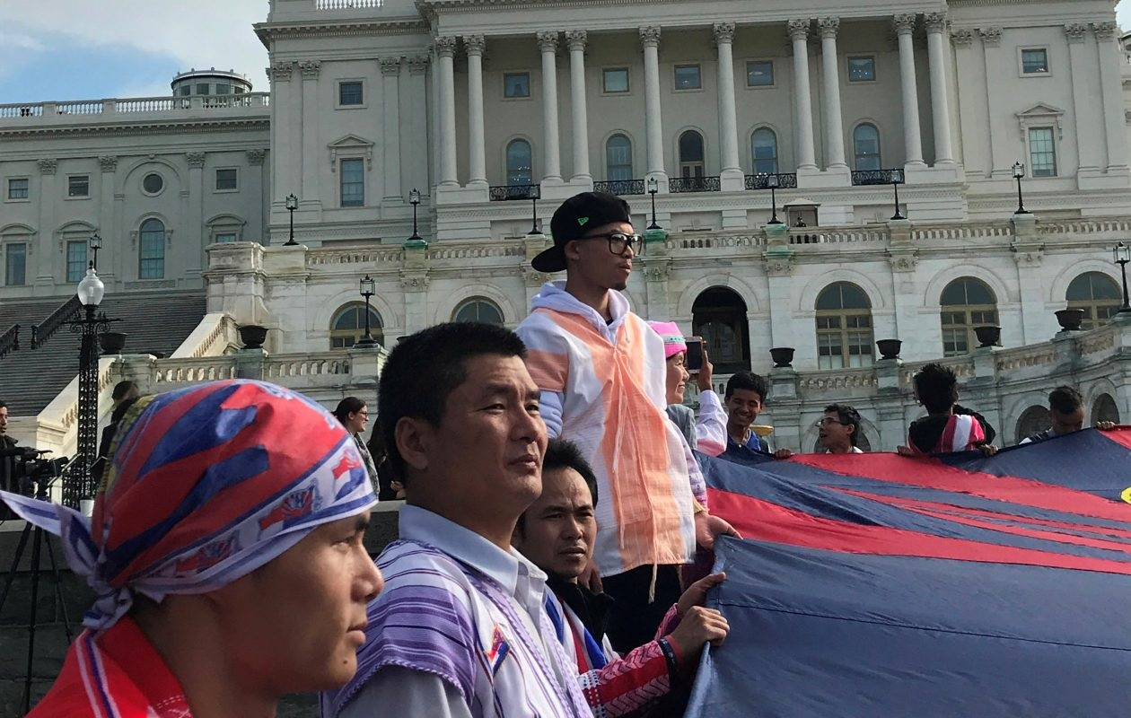 "Nay Htoo, who was profiled in the 2016 Buffalo News series ""From Burma to Buffalo,"" joins other Karen refugees at a protest at the Capitol on Monday. The refugees called for reimposition of U.S. sanctions against Burma for its army's attack's on ethnic minorities. (Jerry Zremski/The Buffalo News)"