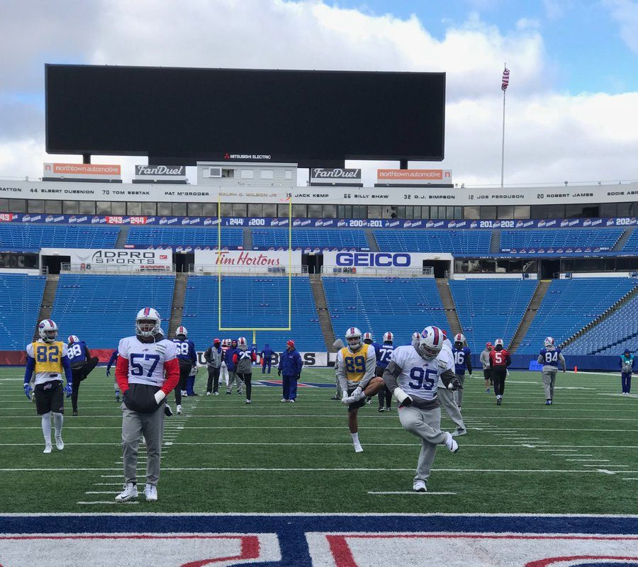 The Bills practiced outdoors at New Era Field on Friday (Photo: Vic Carucci, Buffalo News)