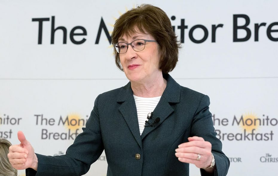 """Speaking to reporters at  a Christian Science Monitor breakfast, GOP Sen. Susan Collins of Maine said:  """"I want to help middle income families. I want to keep the provision that's been in the tax code since the very beginning."""" (Michael Bonfigli/The Christian Science Monitor)"""