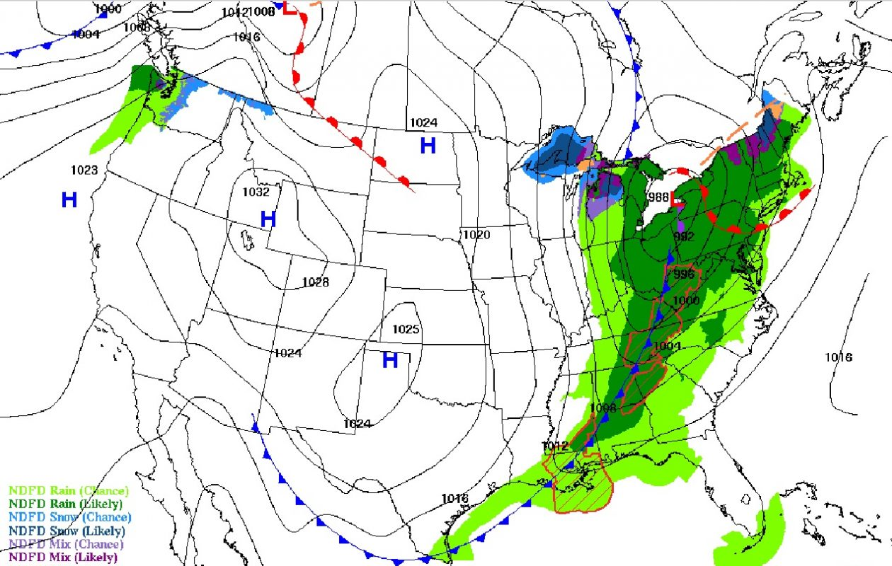 The center of the area of low pressure is forecast to be situated over Western New York by about 8 p.m. Saturday. Heavy rain is expected, but is expected to develop into lake-effect snow as cold air pours in behind the system as it moves toward the northeast by Sunday. (National Weather Service)