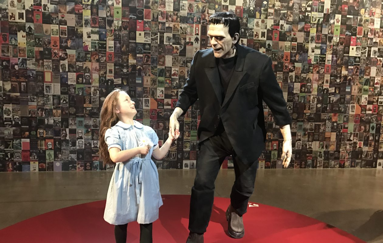 The full-sized sculptures by Mike Hill of the re-enactment of a scene from 'Frankenstein' are part of 'Guillermo del Toro: At Home with Monsters' at the Art Gallery of Ontario.