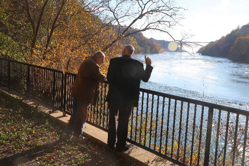 David Brooks and Tom DeSantis, past and present planners in Niagara Falls, joined by a dream of removing the Robert Moses Parkway, admire the Niagara Gorge. (John Hickey/Buffalo News)