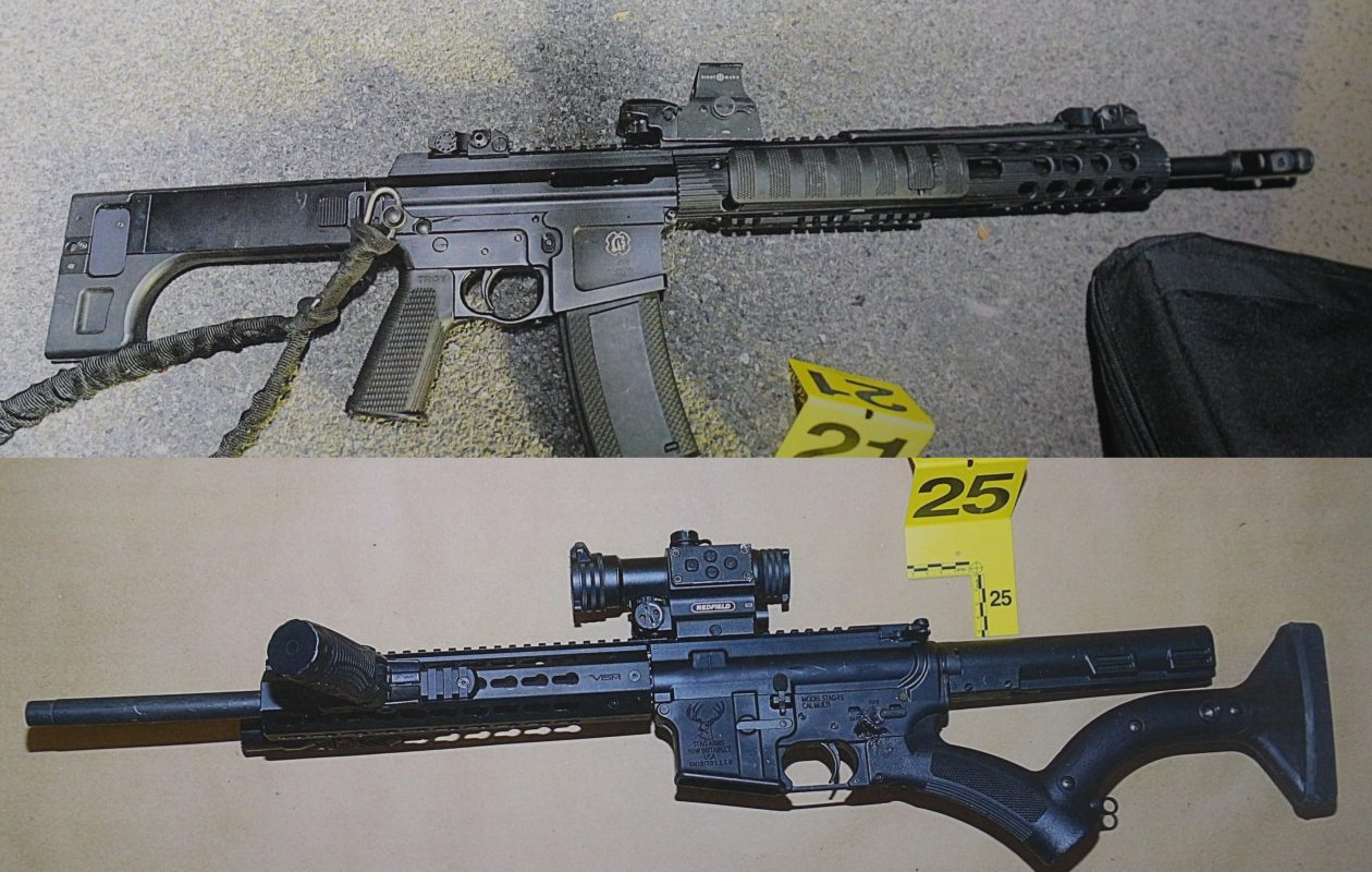 A pump-action AR-15 rifle, top, that police say was used by Travis Green in the Nov. 14 shooting outside the Dollar General near Union and French roads. The AR-15, bottom, was  found in the suspect's car.  (Photos courtesy of Cheektowaga police)