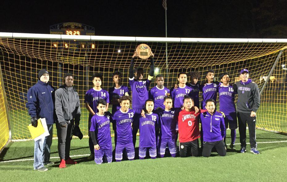 Lafayette won its first regional boys soccer title. (Aaron Garland)