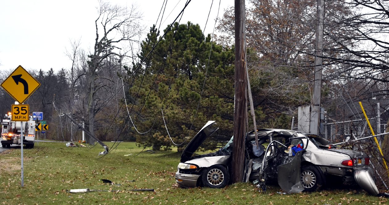 When Lewiston Town police responded to this crash on River Road, they could not initially find the driver. He was later tracked down at his home and arrested for DWI. (Larry Kensinger/Buffalo News)