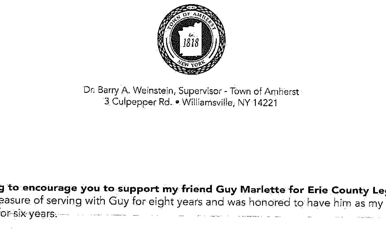 Residents of Erie County legislature's 5th district received a mailer from Amherst Supervisor Barry A. Weinstein that uses the town seal.