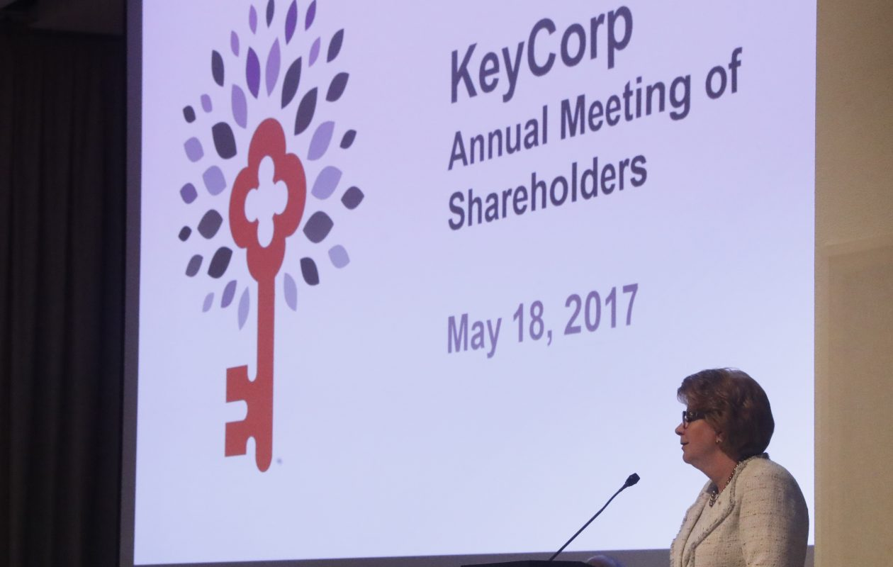 Key Bank Chairman and CEO Beth Mooney speaks at KeyCorp's annual meeting at Albright Knox Art Gallery in May. (John Hickey/Buffalo News)