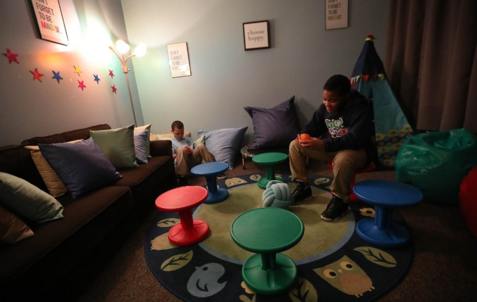 Fourth graders Zaidiel Osoreo, left, and Diego Taite use the new 'mindfulness' room in George E. Blackman School of Excellence when they are stressed out, being bullied or just need to calm down. (Sharon Cantillon/Buffalo News)