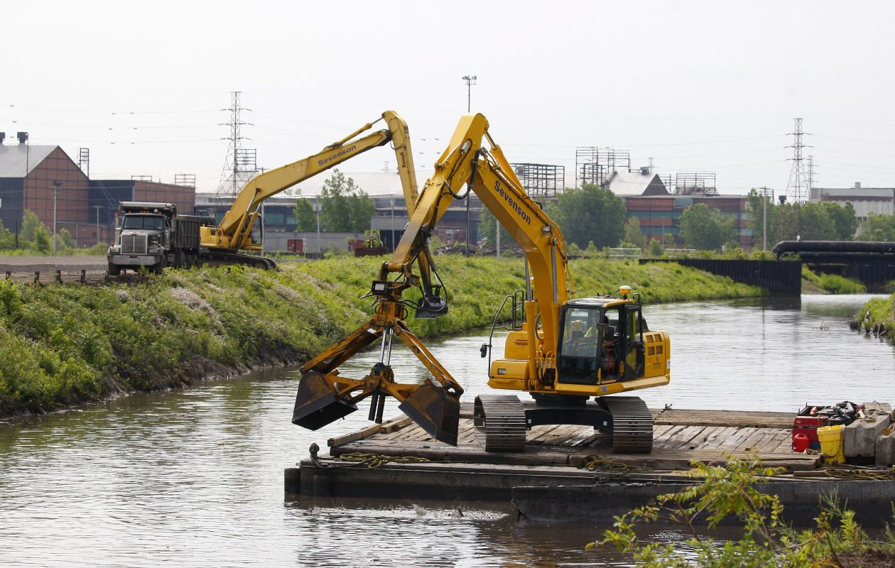 Smokes Creek is dredged on the former Bethlehem Steel site in Lackawanna on June 25, 2015.    (Mark Mulville/Buffalo News)