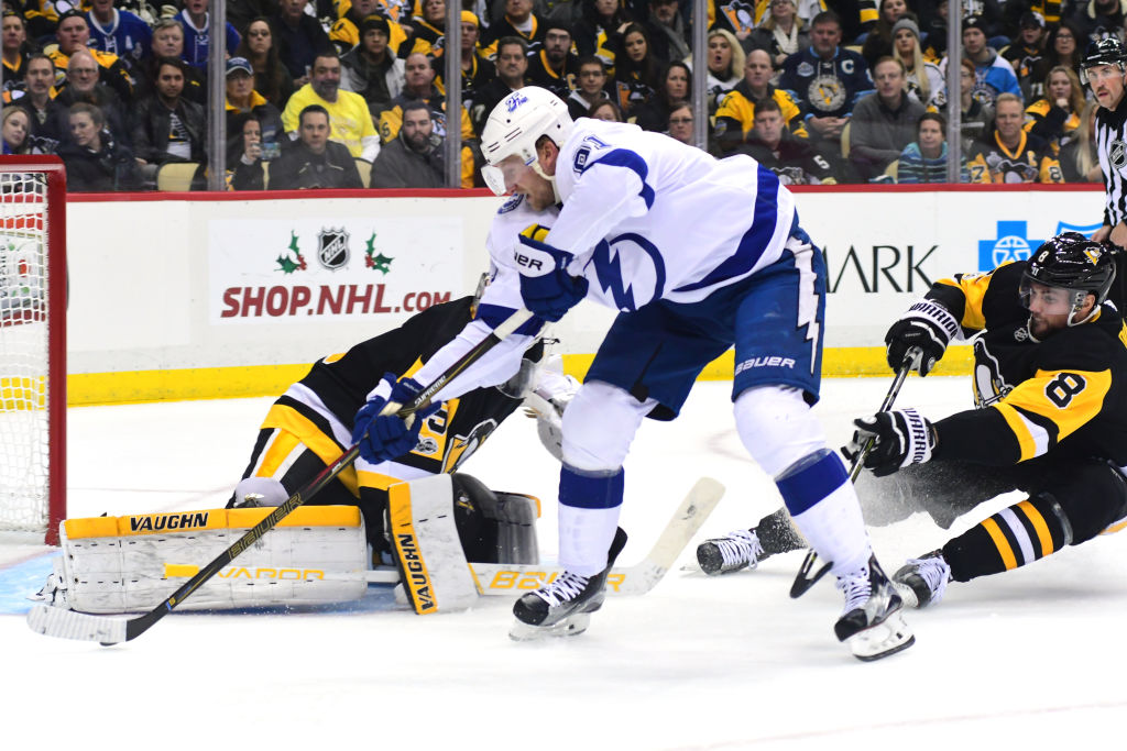 Tampa Bay captain Steven Stamkos works the puck to the net Saturday in Pittsburgh (Getty Images).