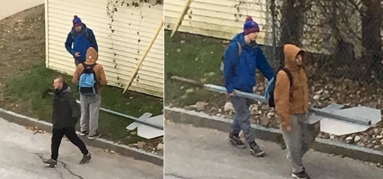 University at Buffalo police are looking for three suspects who stole a stop sign from South Campus. (Courtesy UB Police)